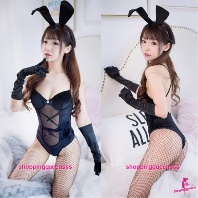 Black Rabbit Suit Teddies Cosplay Costume Sleepwear Nightwear Sexy Lingerie H7005