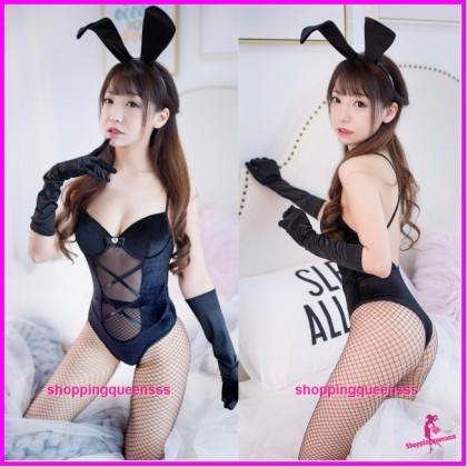 Black Rabbit Suit Teddies Cosplay Costume Sleepwear Nightwear Sexy Lingerie H7005