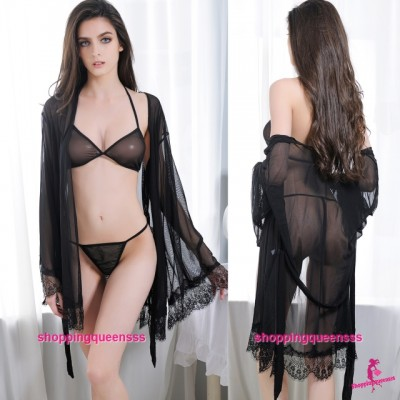 Black See-Through Bikini + Robes Set Sleepwear Sexy Lingerie M6641