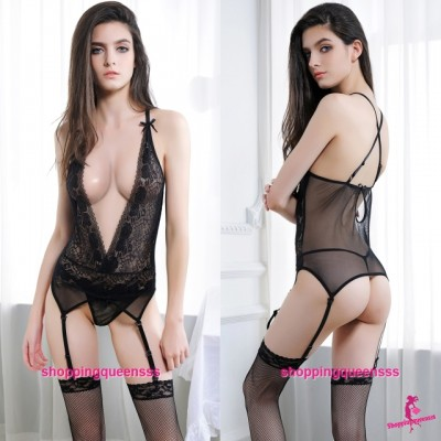 Black Deep V Corset Top + Garter Belt + G-String Sexy Lingerie Sleepwear M6621