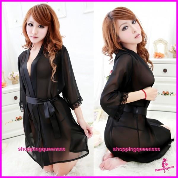 Sexy Lingerie Black Robes + G-String Sleepwear Pyjamas Nightwear H6003