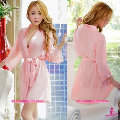Sexy Lingerie Peach Pink Robes + G-String Sleepwear Pyjamas Nightwear H6003