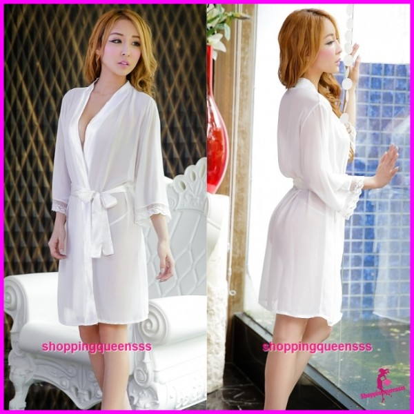 Sexy Lingerie White Robes + G-String Sleepwear Pyjamas Nightwear H6003
