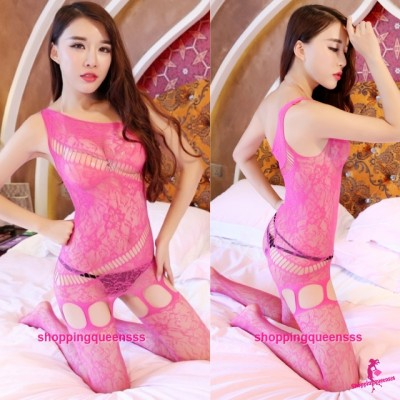 Rose Red Sloping Shoulder Fishnet Body Stocking Hosiery Sexy Lingerie WL082