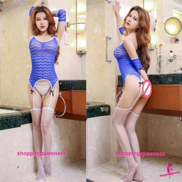 Blue Sexy Fishnet Body Stocking Garter Belt Set Hosiery Sleepwear Lingerie WL6048