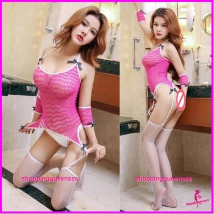Rose Red Sexy Fishnet Body Stocking Garter Belt Set Hosiery Sleepwear Lingerie WL6048