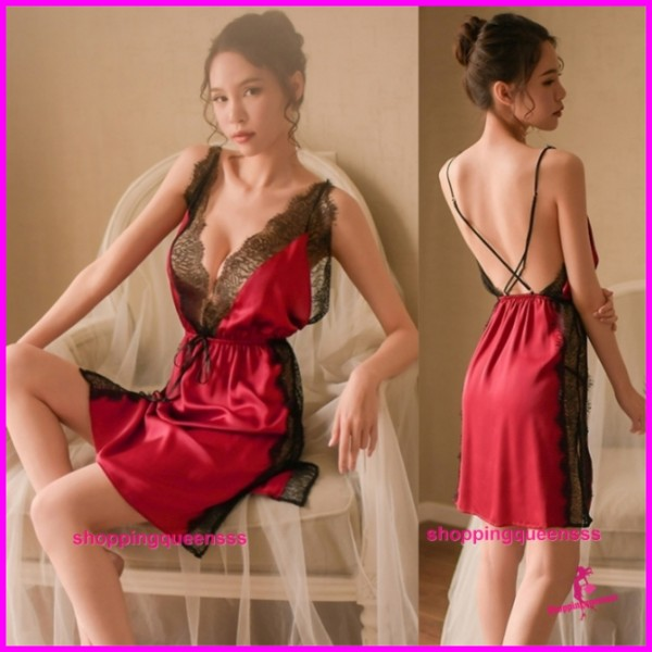 Sexy Lingerie Burgundy Lace Satin Dress + G-String Women Sleepwear Pyjamas TS1098