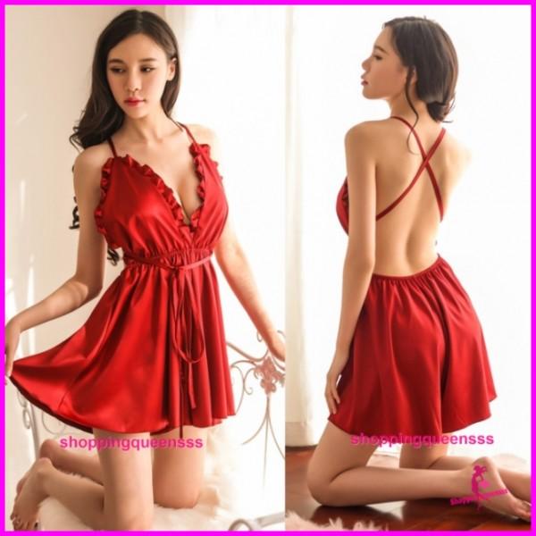 Sexy Lingerie Burgundy Satin Deep V Dress + G-String Sleepwear Pyjamas TS1099