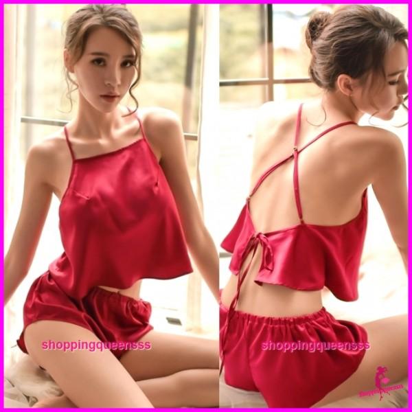 Sexy Lingerie Burgundy Top + Short Sleepwear Nightwear Pyjamas TS1100