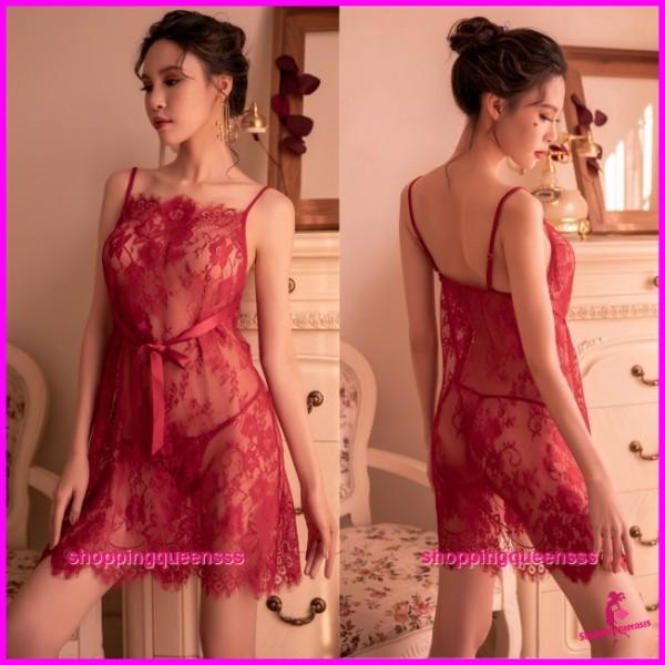 Sexy Lingerie Burgundy Lace Babydoll Dress + G-String Sleepwear Pyjamas TS7290