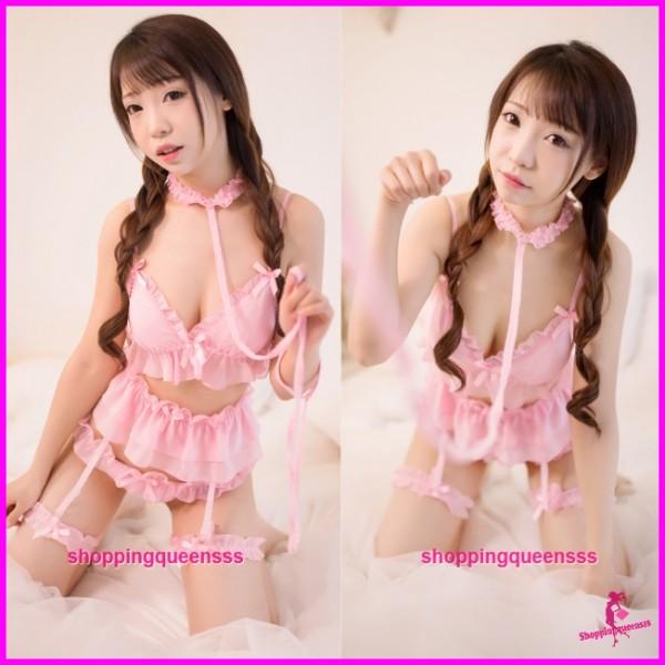 Pink Collar + Bra + Garter Belt + Panties Sleepwear Pyjamas Sexy Lingerie H7006