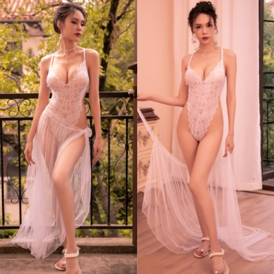 Sexy Lingerie White Teddies + Long Skirt Sleepwear Nightwear Pyjamas TS7295