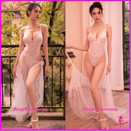 White See-Through Teddies + Long Skirt Sleepwear Sexy Lingerie TS7295