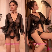 Sexy Lingerie Black Lace See-Through Robes + G -String Nightwear Sleepwear TS7297