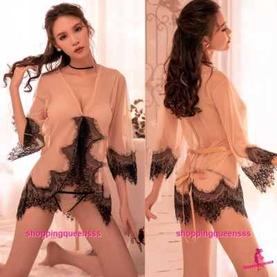 Sexy Lingerie Lace Beige See-Through Robes + G -String Nightwear Sleepwear TS7297