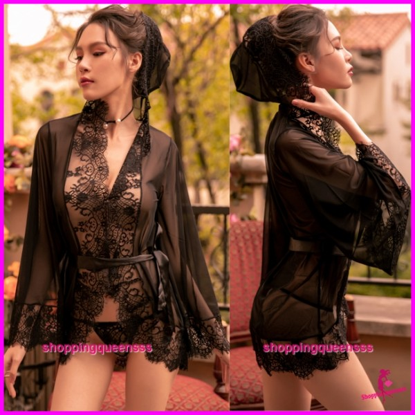 Black Lace See-Through Robes with Hat + G-String Sleepwear Sexy Lingerie TS7303