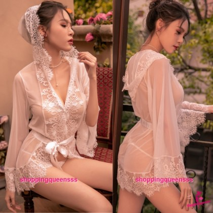 White Lace See-Through Robes with Hat + G-String Sleepwear Sexy Lingerie TS7303