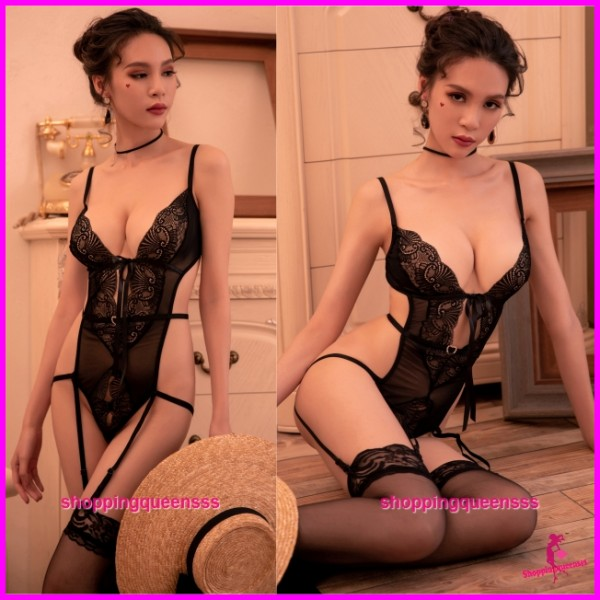Black Low-Cut Lace Teddies + Garter Belt Sexy Lingerie Sleepwear Nightwear TS7311