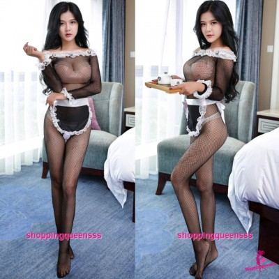 Sexy Lingerie Maid Fishnet Body Stocking Hosiery Costume Sleepwear WL6014