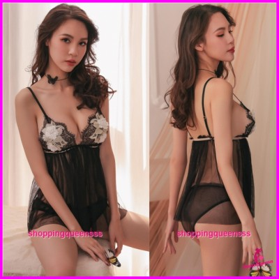 Sexy Lingerie Black Low-Cut Babydoll Dress + Panties Sleepwear Pyjamas TS1104