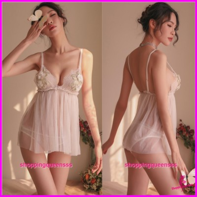 Sexy Lingerie White Low-Cut Babydoll Dress + Panties Sleepwear Nightwear TS1104