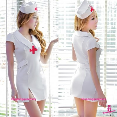 White Nurse Uniform Cosplay Costume Nightwear Sleepwear Sexy Lingerie H6185