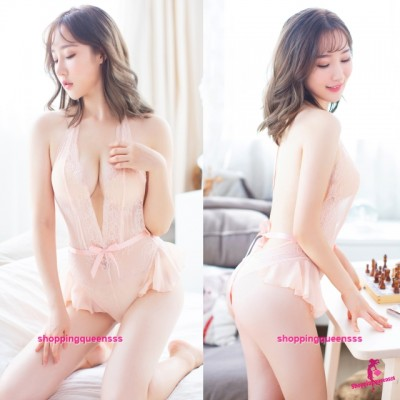 Apricot Lace Halter Low-Cut Open Crotch Teddies Sleepwear Sexy Lingerie H7020
