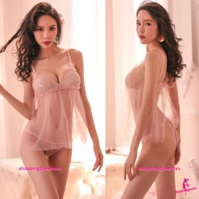 Pink See-Through Top + Panties Sexy Lingerie Sleepwear Nightwear TS1108
