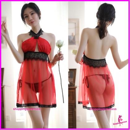 Red Halter Backless Babydoll Dress + Panties Sleepwear Sexy Lingerie TS1115
