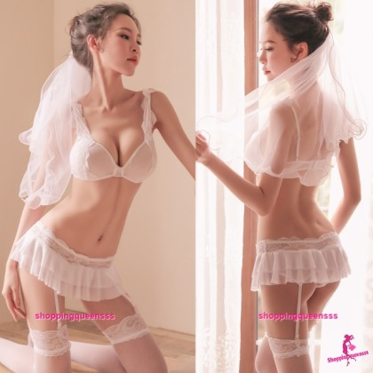 White Wired Bra + Skirt + Garter Belt Bride Costume Sleepwear Sexy Lingerie TS7332