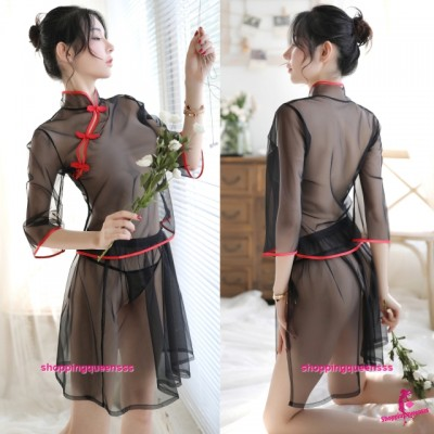 Black Transparent Cheongsam Top + Skirt Costume Sleepwear Sexy Lingerie H7019