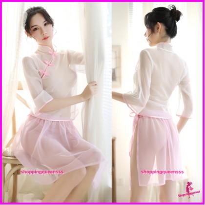 Transparent Cheongsam White Top + Pink Skirt Costume Sleepwear Sexy Lingerie H7019