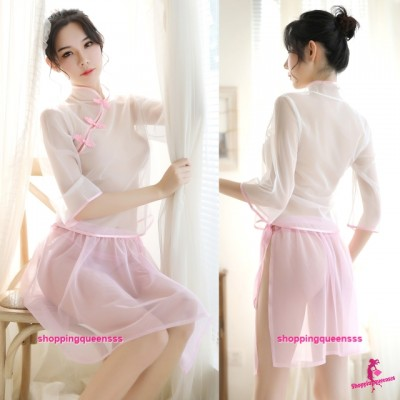 Transparent Cheongsam White Top + Pink Skirt Costume Sleepwear Sexy Lingerie H7019