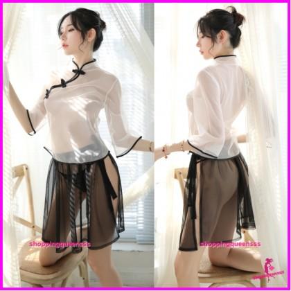 Transparent Cheongsam White Top + Black Skirt Costume Sleepwear Sexy Lingerie H7019