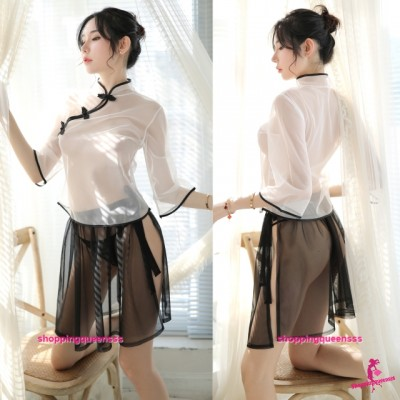 Transparent Cheongsam White Top + Black Skirt Costume Sleepwear Sexy Lingerie H7019