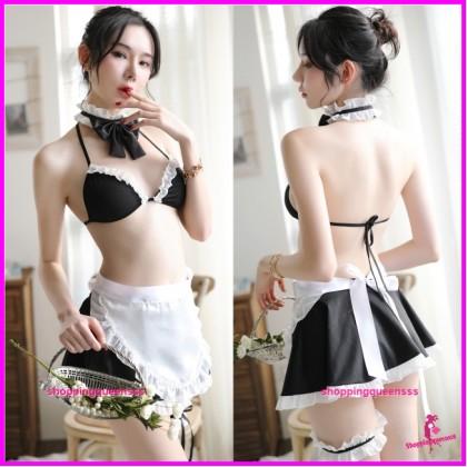 Black Fancy Maid Uniform Cosplay Costume Nightwear Sexy Lingerie H7026
