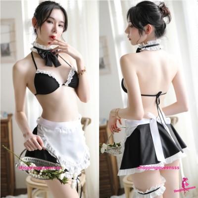 Black Fancy Maid Uniform Cosplay Costume Nightwear Sleepwear Sexy Lingerie H7026