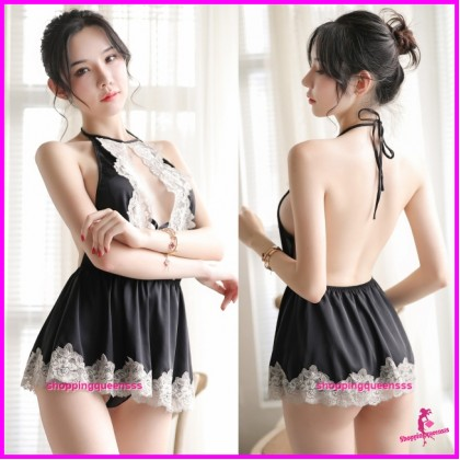 Lace Black Satin Backless Dress + G-String Sleepwear Sexy Lingerie H7031
