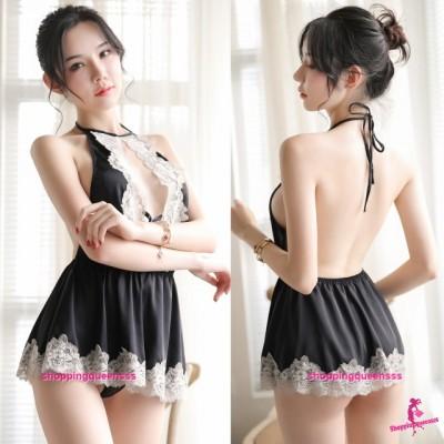 Lace Black Satin Backless Dress + G-String Sexy Lingerie Sleepwear Nightwear Pyjamas TS7031