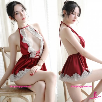 Lace Red Satin Backless Dress + G-String Sleepwear Sexy Lingerie H7031