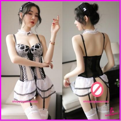 White Lace Corset + Garter Belt + G-String Sleepwear Sexy Lingerie TS7259