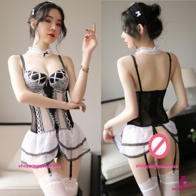 White Lace Corset + Garter Belt + G-String Sexy Lingerie Sleepwear Nightwear TS7259
