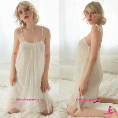 Sexy Lingerie White Lace Babydoll Dress + G-String Sleepwear Pyjamas Nightwear TS1120