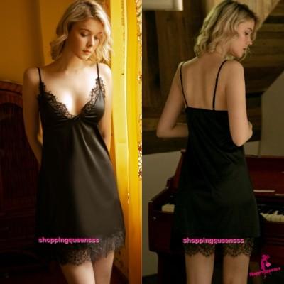 Sexy Lingerie Black Lace Satin Low-Cut Dress + G-String Women Sleepwear Nightwear TS1126