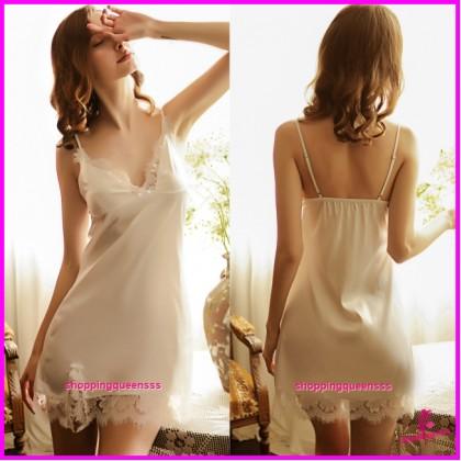 White Lace Satin Low-Cut Dress + G-String Sleepwear Sexy Lingerie TS1126