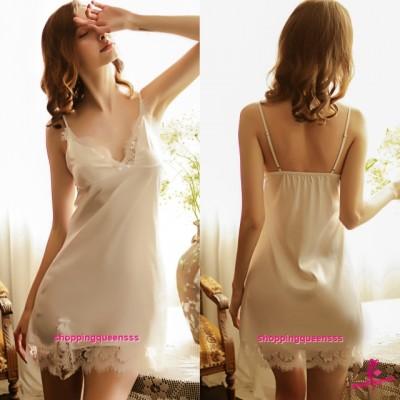 Sexy Lingerie White Lace Satin Low-Cut Dress + G-String Women Sleepwear Nightwear TS1126