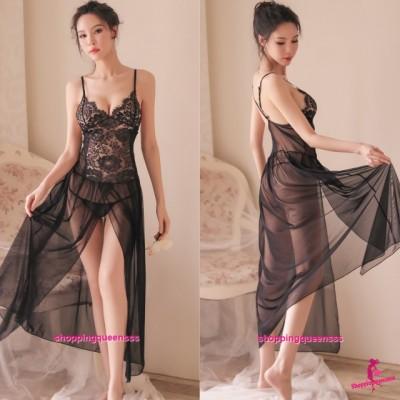 Black Lace Low-Cut Babydoll Long Dress + G-String Sleepwear Nightwear Sexy Lingerie TS7326