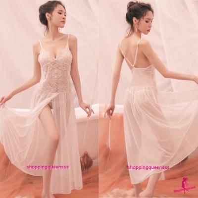 White Lace Low-Cut Babydoll Long Dress + G-String Sleepwear Nightwear Sexy Lingerie TS7326
