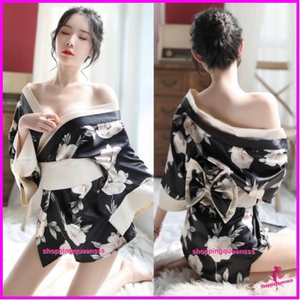 Sexy Lingerie Floral Silk Japanese Kimono Robes + G-String Nightwear H7056