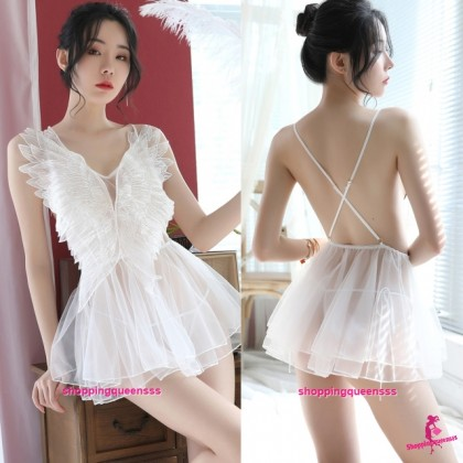 Sexy Lingerie White Wings See-Through Dress + G-String Sleepwear H7057
